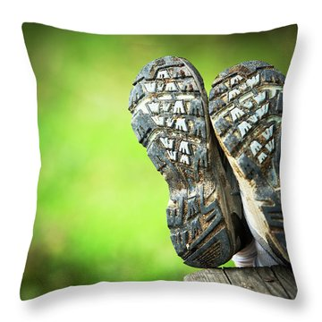 Bottom View Of Hiking Shoes Throw Pillow