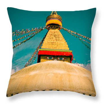 Boudhanath Stupa In Nepal With Blue Sky Throw Pillow