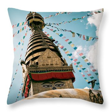 Boudhnath Stupa In Nepal Throw Pillow