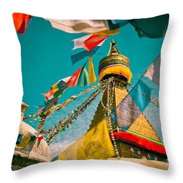 Boudnath Stupa In Kathmandu Nepal Throw Pillow