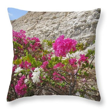 Bougainvillea At The Dead Sea Throw Pillow by Esther Newman-Cohen