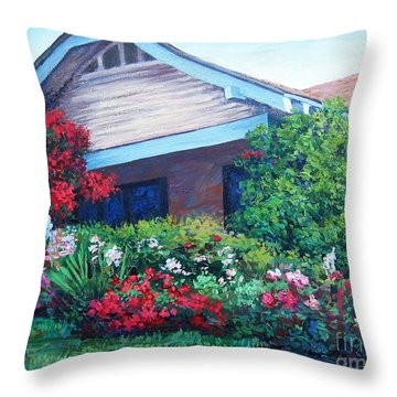 Throw Pillow featuring the painting Bougainvillea House by Cheryl Del Toro