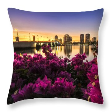 Bougainvillea On The West Palm Beach Waterway Throw Pillow