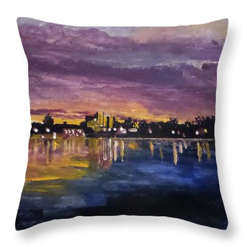 Throw Pillow featuring the painting Bouge Sound At Night by Jim Phillips