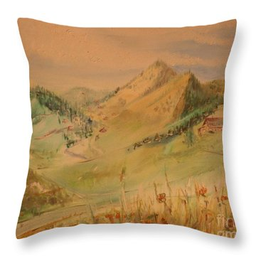 Boulder Colorado Painting Throw Pillow