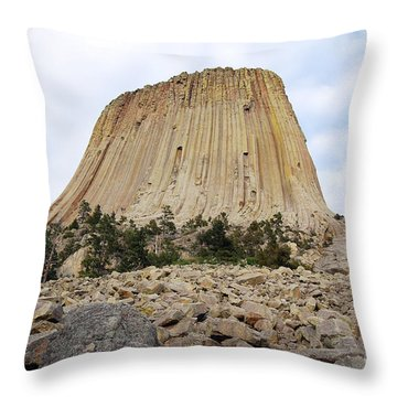 Throw Pillow featuring the photograph Boulder Field Beneath Devils Tower National Monument Wyoming Usa by Shawn O'Brien