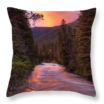 Boulder River Sunset Throw Pillow by Leland D Howard