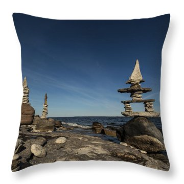 Boulder Surfing Throw Pillow