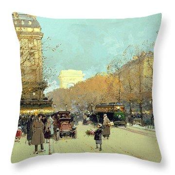 Boulevard Haussmann In Paris Throw Pillow by Eugene Galien-Laloue