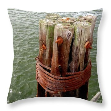 Bound And Bolted Throw Pillow by Ed Weidman