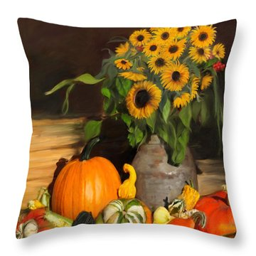 Bountiful Harvest - Floral Painting Throw Pillow by Enzie Shahmiri