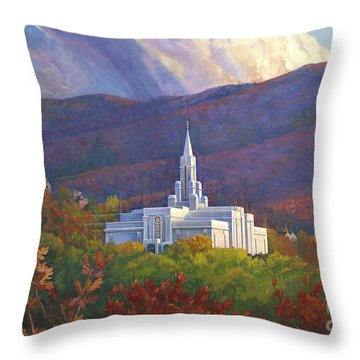 Bountiful Temple In The Mountains Throw Pillow by Rob Corsetti
