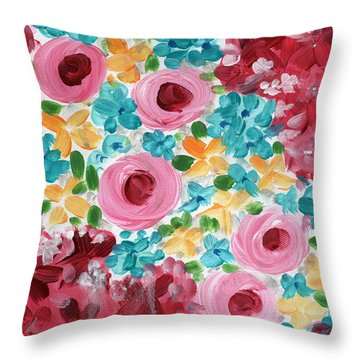 Bouquet- Expressionist Floral Painting Throw Pillow