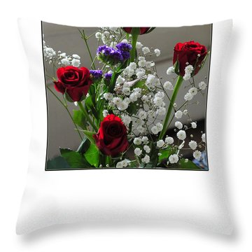 Bouquet In Red White And Blue Throw Pillow by Randi Grace Nilsberg