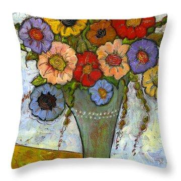 Bouquet Of Flowers Throw Pillow by Blenda Studio