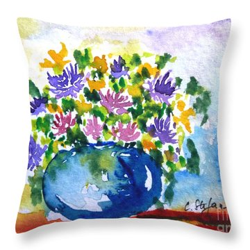 Bouquet Of Flowers In A Vase Throw Pillow