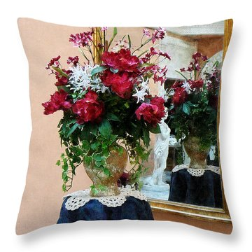 Bouquet Of Peonies With Reflection Throw Pillow by Susan Savad