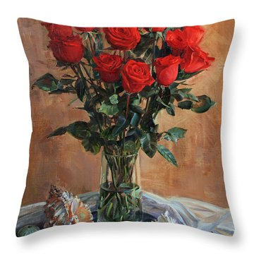 Bouquet Of Red Roses On The Birthday Throw Pillow