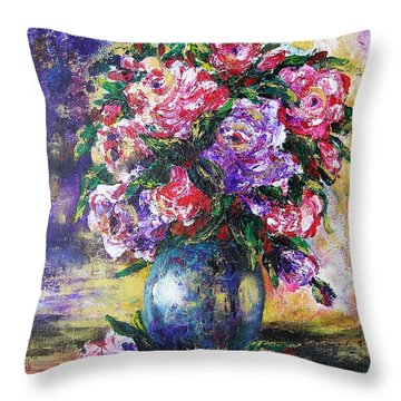 Throw Pillow featuring the painting Bouquet Of Scents by Vesna Martinjak