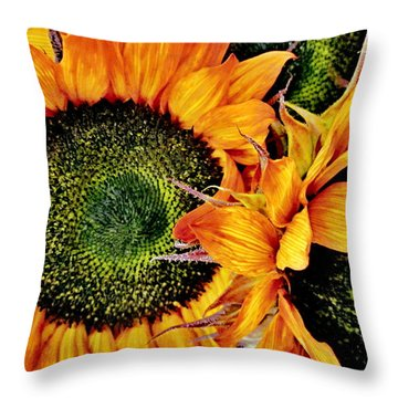 Bouquet Of Sunflowers Throw Pillow by Danielle  Parent