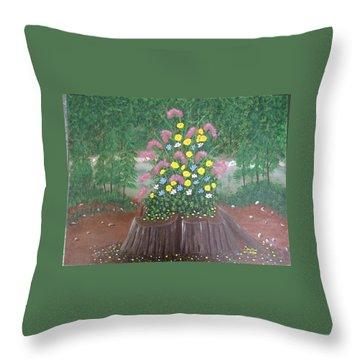 Bouquet On A Stump Throw Pillow