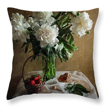 Bouquet Peonies Flowers Throw Pillow by Vitaliy Gladkiy