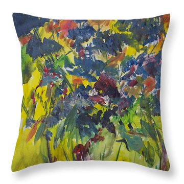 Throw Pillow featuring the painting Bouquet With Blue Flowers by Avonelle Kelsey