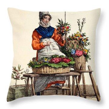 Bouquetiere Des Bouquets Pour Margot Throw Pillow by Carle Vernet