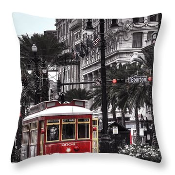 Throw Pillow featuring the photograph Bourbon And Canal Trolley Cropped by Tammy Wetzel