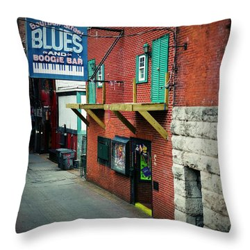 Bourbon Street Blues Throw Pillow