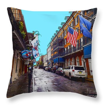 Bourbon Street Throw Pillow by Carey Chen