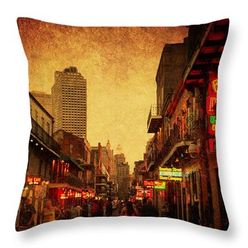 Bourbon Street Grunge Throw Pillow
