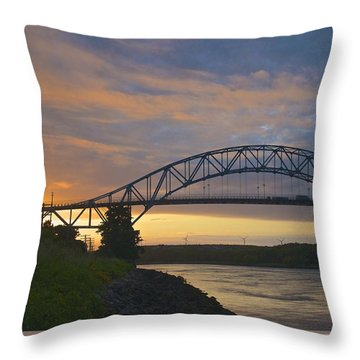 Bourne Bridge Sunrise Throw Pillow