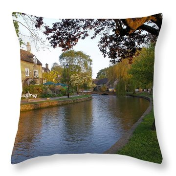 Bourton On The Water 3 Throw Pillow by Ron Harpham