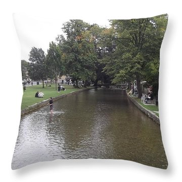 Bourton On The Water Throw Pillow by John Williams