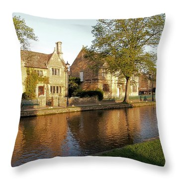 Bourton On The Water Throw Pillow by Ron Harpham