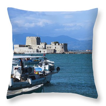 Bourtzi And Boats Throw Pillow