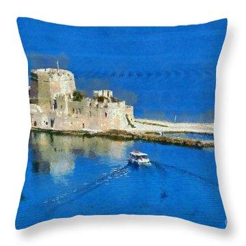 Bourtzi Fortress Throw Pillow by George Atsametakis