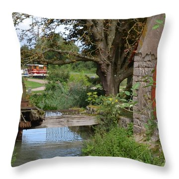 Bouy By Canal Throw Pillow by Cheryl Miller