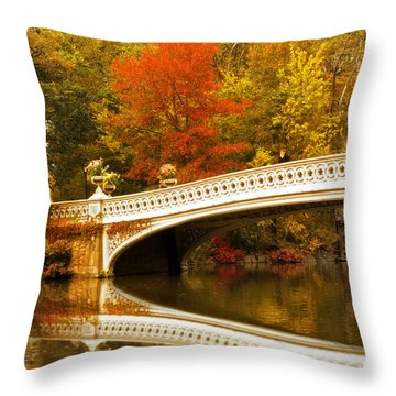 Throw Pillow featuring the photograph Bow Bridge Beauty by Jessica Jenney