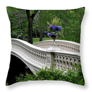 Bow Bridge Flower Pots - Central Park N Y C Throw Pillow