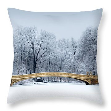 Throw Pillow featuring the photograph Bow Bridge In Central Park Nyc by Mihai Andritoiu