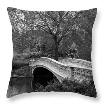 Bow Bridge Nyc In Black And White Throw Pillow by Christiane Schulze Art And Photography