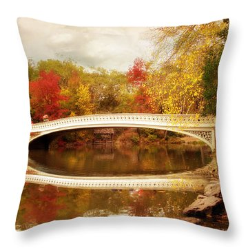 Throw Pillow featuring the photograph Bow Bridge Reflected by Jessica Jenney