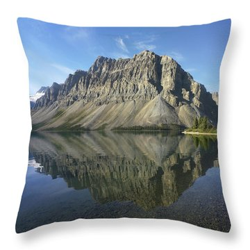 Bow Lake And Crowfoot Mts Banff Throw Pillow