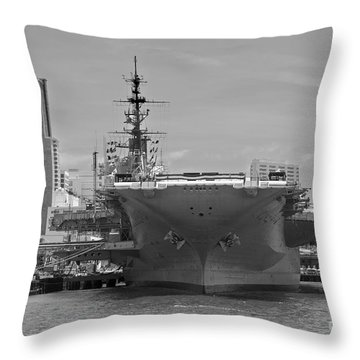 Bow Of The Uss Midway Museum Cv 41 Aircraft Carrier - Black And White Throw Pillow by Claudia Ellis