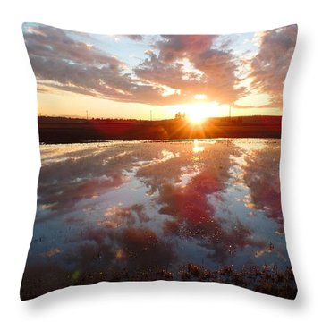 Bow Sunset Throw Pillow