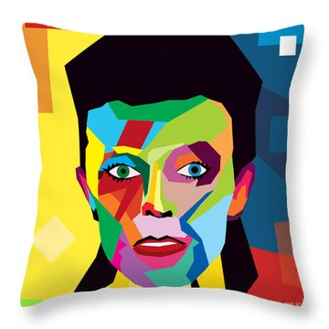 David Bowie Throw Pillow by Mark Ashkenazi