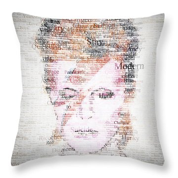 Bowie Typo Throw Pillow by Taylan Apukovska