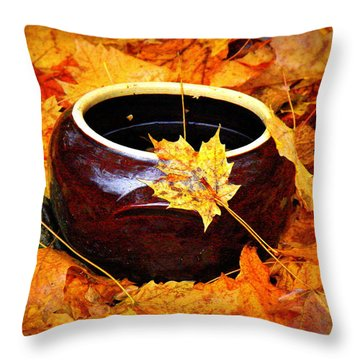 Throw Pillow featuring the photograph Bowl And Leaves by Rodney Lee Williams